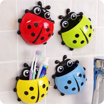1Pc Sanitary Kids Cartoon Animal Ladybug Wall Mounted Toothbrush Toothpaste Holder With 3 Suction Cup Bathroom Accessories