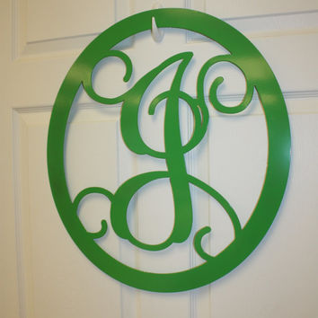 Monogrammed Wreath / Initial Door Hanger / Custom Wall Decor / Custom Metal Wreath
