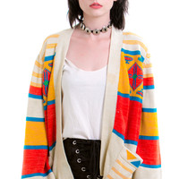 Vintage 70's Rainbow Reader Bell-Sleeved Cardi - XS/S/M
