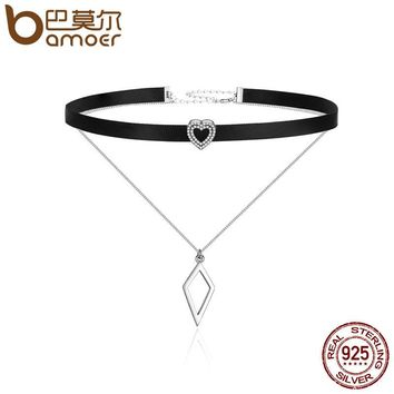 BAMOER Trendy 925 Sterling Silver Double Layer & Black Braid Heart Prism Square Chokers Pendant Necklaces