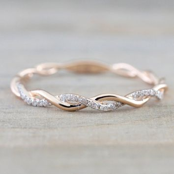 Twisted Shape,Diamond Wedding Band 14k Gold,FULL Eternity Ring,engagement Ring,stacking Matching Band,anniversary Ring,curved De
