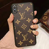 LV Tide brand retro classic old flower IPhone X mobile phone case cover coffee print