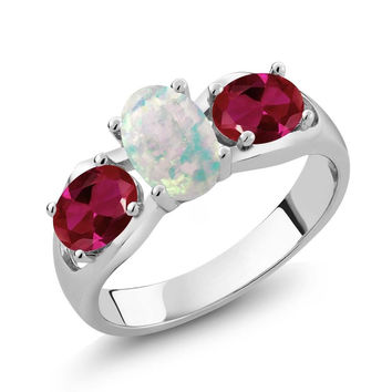 1.63 Ct Oval Cabochon White Simulated Opal Created Ruby 925 Sterling Silver Ring