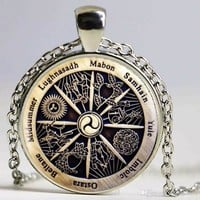 Wicca Wheel of the Year Pendant Necklace