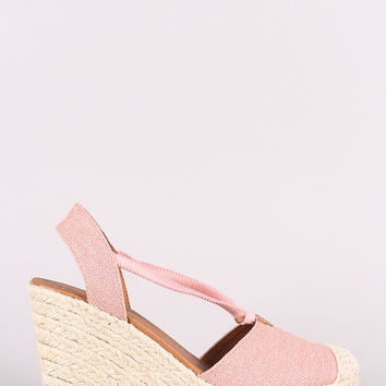 City Classified Canvas Round Toe Espadrille Platform Wedge