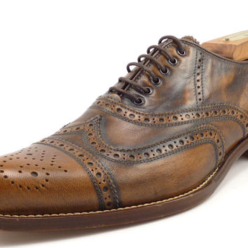 Miu Miu New Mens Shoes 5.5, 6.5 US Leather Wingtip Brogue Oxfords 0009 Brown