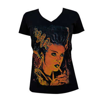 Monster Love Womens V-Neck Tee by Artist Mike Bell