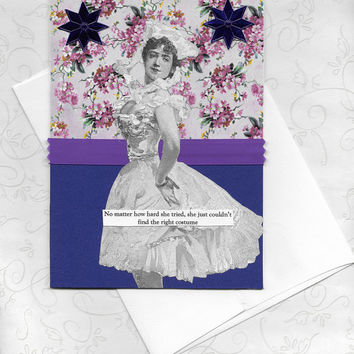 Funny Note Card for the Fashion Challenged Victorian Vintage Style Collage Art Card - I Don't Know What to Wear!