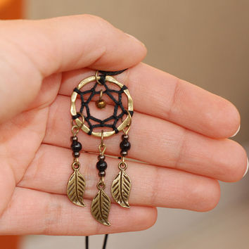 Dreamcatcher Necklace, native american jewelry, black dream catcher, boho layering necklace, bohemian pendant, tribal hippie charm brass
