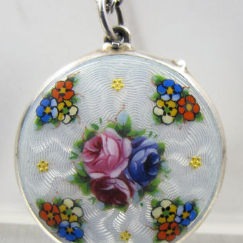 "Antique Sterling Guilloche Enamel Locket French Hallmarks Floral Design 1"" Double Photos"