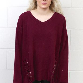Double Lace Up V-Neck Fleece {Burgundy}