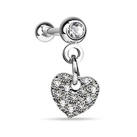 BodyJ4You Tragus Earring Clear Crystal Heart Dangle Cartilage 16G Piercing Jewelry