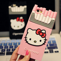 Luxury Kitty Smoking Kills Cigarette Soft Silicone Rubber  Phone Case back cover  For Apple iphone 5s 6s 6plus 6s plus CH17