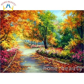 HOME BEAUTY diy oil painting by numbers flowers garden decorative canvas painting calligraphy coloring by number wall art Y091