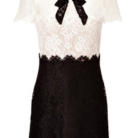 Valentino - Two-Tone Heavy Lace Dress