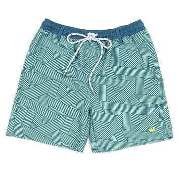 YOUTH Fractured Lines Dockside Swim Trunk in Slate & Mint by Southern Marsh