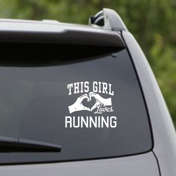 This girl loves running decal sticker car window truck laptop