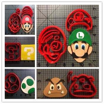 Super Mario party nes switch Cute Custom Made 3D Printed Game  Question Block Cookie Cutter Set Fondant Cupcake Cup Cake Moulds for Cookie Cutter AT_80_8