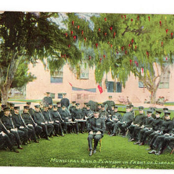 Vintage 1910's Long Beach California Postcard Municipal Band Playing in Front of the Library Souvenir Publishing Company
