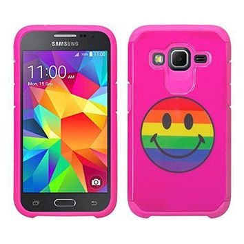 Galaxy Core Prime Case, Samsung Galaxy Core Prime [Impact Resistant] Hybrid Dual Layer Armor Defender Protective Case Cover for Core Prime - Rainbow Emoji