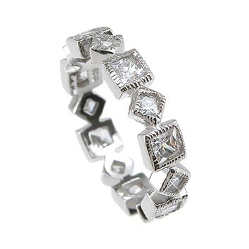 Plutus Brands 925 Sterling Silver Rhodium Finish CZ Princess Eternity Wedding Band 1 Carat weight- Size 6