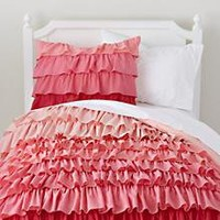 The Land of Nod | Girls Bedding: Pink Ombre Ruffled Bedding Set in Girl Bedding
