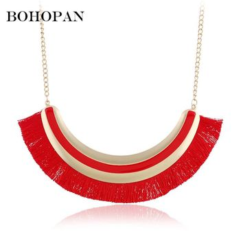 Boho Ethnic Tassel Necklace For Women Statement Fashion Jewelry Long Necklace 5 Color Female Wedding Gift collier femme