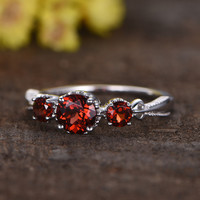 0.5 Carat Round Garnet Engagement Ring 14k White Gold Birthstone Three Stone Rings For January