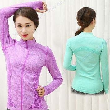 Autumn Long Sleeve Zipper Running Jacket Rose Red Fitness Yoga Jackets Green Dry Fit atheletic sportwear Women's Grey Activewear