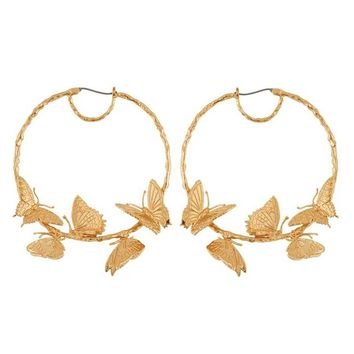 SRCOI Alloy Butterfly Earrings Hoops Exaggerated Creative Gold Round Circle Luxurious Huggie Women's Hoop Earrings Bohemian New
