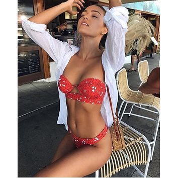2018 new Bather Sexy  bikini set push up  swimsuit female swimwear women bikini bathing suit swim wear biquini  print trikini