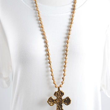 Hammered Cross Necklace - Tan