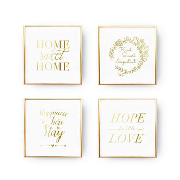 SET of 4 Prints, Happiness Poster Set, Love Poster, Flowers Print, Inspirational Art, Real Gold Foil, Home Sweet Home, Modern Wall Print,