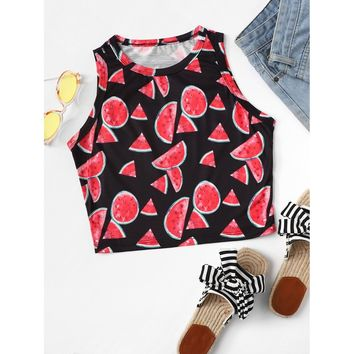 Watermelon Print Cropped Shell Top