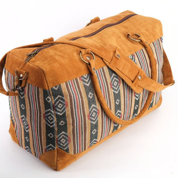 Large Tapestry Weekender Bag, Kilim Overnight Bag, Woven Cotton Travel Bag, Navajo print