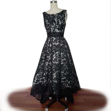 Black Lace High low cap Sleeves Evening Dresses Front Short Long Back Party Dresses