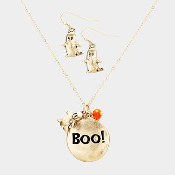 """""""Boo!"""" Metal Disc Ghost Pendant Necklace"""