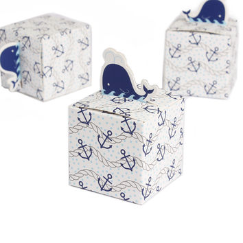 Nautical Whale Gift Boxes- 12Pcs: SAVE $5 TODAY