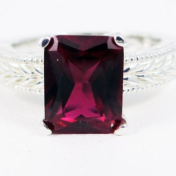 Emerald Cut Ruby Engagement Ring, 925 Sterling Silver, Emerald Cut Ruby Ring, Engraved Sterling Silver Ring, 925 Ruby Ring