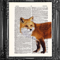 Red Fox-Dictionary Print Book Print Page Art-Upcycled Antique Book Page-Print On Dictionary Book Page-Upcycled Book Page