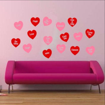 Conversation Hearts Set of 16 Removable Vinyl Wall Decals 22249
