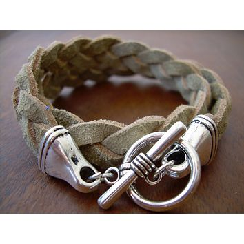 Natural Braided Flat Suede Double Wrap Leather Bracelet