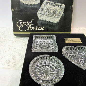 Sale Crystal Ashtrays West Germany Tobacciana Collectibles Showcase Set of 3