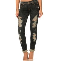 Sale-dark Wash Destructed Jeans