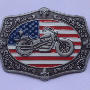 AMERICAN BIKERS UNITED STATES FLAG BELT BUCKLE