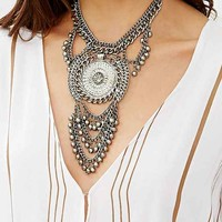 Royal Palms Statement Necklace- Silver One
