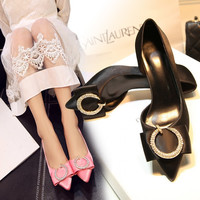 Summer Rhinestone Butterfly Pointed Toe With Heel Shoes [4919876676]