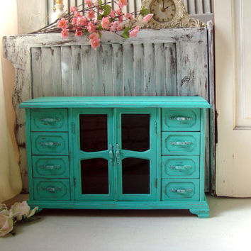 Aqua Vintage Jewelry Box, Large Teal Jewelry Holder, Big Turquoise Wooden Jewelry Chest, Shabby Chic Jewelry Box, Gift Ideas