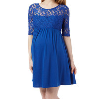 Royal Lace-Accent Maternity Empire-Waist Dress