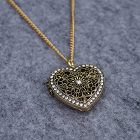 Love Heart Locket  - Antique Rhinestone Necklace